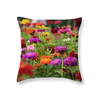 Colorful Dahlia Blooming Flowers Throw Pillow Cover, Botanical Photo Art Outdoor Cushion, Red Green Pink Seat Cushion, Decorative Pillow