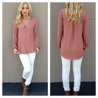 Dusty Pink Long Sleeve Button Up Blouse