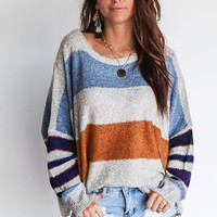 Classic Move Gray Oversized Stripe Knit Sweater