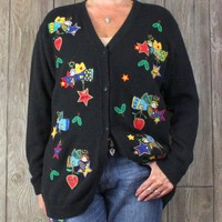 Quacker Factory L XL Cardigan Sweater Christmas Angel Wishes Black Multi Color
