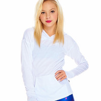 Girls White Long Sleeve Hooded Top