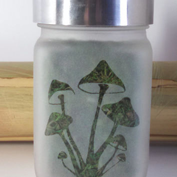 Magic Mushrooms Etched Glass Stash Jar