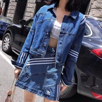 ADIDAS Women Denim Cardigan Jacket Coat Skirt Set Two Piece