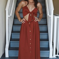 Looking Pretty Rust Maxi With Cut Outs