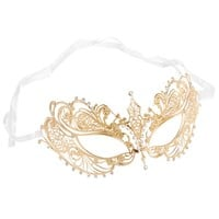 Luxury Mask Women's Laser Cut Metal Venetian Pretty Masquerade Mask, Gold/Clear Stones, One Size