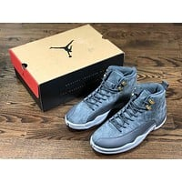 Air Jordan 12 gray AJ12 run shoes