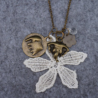 Elephant and Lace Flower Necklace