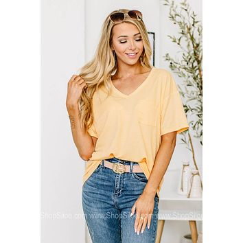 How It Is Basic V Neck Pocket Top   Pale Yellow