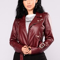 Remind Me Later Faux Leather Jacket - Burgundy