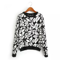Floral Print Knitted Sweater