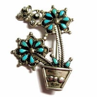 Zuni Turquoise Moonstone Flower Pot Butterfly Brooch Pendant