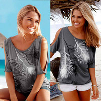Shoulder Feather Print Women Casual Summer T-Shirt