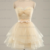 2014 New Real A-line Sweetheart Sleeveless Above the knee Tulle Beading Short Cocktail Dresses Prom Dresses Evening Dresses Party Dresses