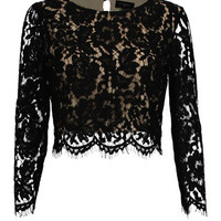 It's a Lace Thing 3/4 Sleeve Cropped Top - Black