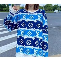 Louis Vuitton new men's and women's full-print blue sky and white clouds terry round neck sweater top...