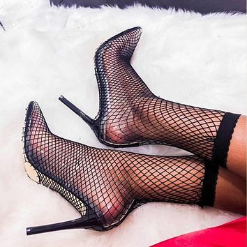 Foreign trade transparent stiletto high-heeled sandals with mesh hollow pointed toe