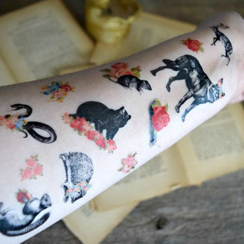 Temporary Tattoo Set of 12 - Woodland creatures, Floral, Flower, Vintage, Black and white, Colorful