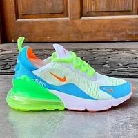 NIKE AIR MAX 270 Tide brand mesh Sneaker breathable half palm cushion sports shoes Fluorescent Green