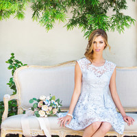Morgan Periwinkle Fit and Flare Floral Dress