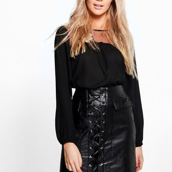 Aria Leather Look Lace Up Pocket Front Mini Skirt   Boohoo