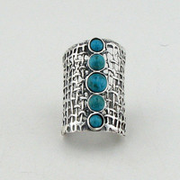 Hadar Hand Crafted Art Sterling Silver Turquoise Ring size 8 (1142b