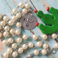 Cactus Assemblage Necklace / Bloom Necklace / Rosary Style Jewelry / Cowgirl Chic Jewelry / Hand Stamped Jewelry / Southern Style