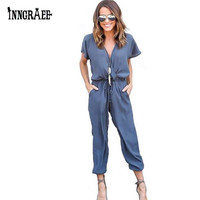 Inngraee 2017 Office Rompers Women Jumpsuit Summer V-Neck Tied Waist Sexy Party Playsuit  Female Overalls Pockets NS8446