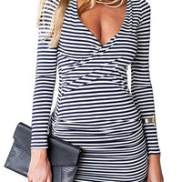 Bodycon V-Neck Strip Dress with Long Sleeve