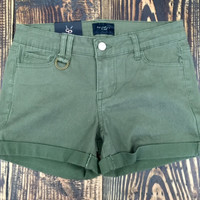 Olive Night Mid Rise Shorts