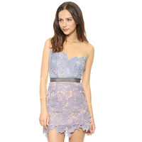 Nude Mesh Belted Mini Dress with Purple Floral Applique Overlay