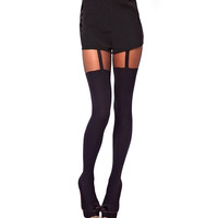 1pc Black Sexy Decorated Garters Stretchy Thin Pantyhose Tights Stockings
