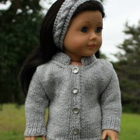 hand knit grey sparkle sweater with matching cable headband,, 18 inch doll clothes American girl Maplelea