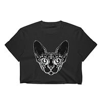 Sphynx Cat Fine Jersey Short Sleeve Cropped T-Shirt w/ Tear Away Label