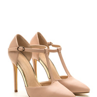 Point Being Faux Leather T-Strap Heels