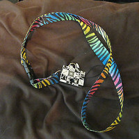 "Rainbow Multi Colored Zebra Animal Print 15"" lanyard ID Holder Mobile Device-New"