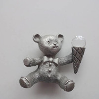 Vintage Spoontiques Miniature Pewter Teddy Bear with Crystal Ice Cream Cone 1980s