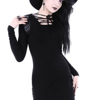Armor Black Gothic Mini Dress with Hood by Restyle