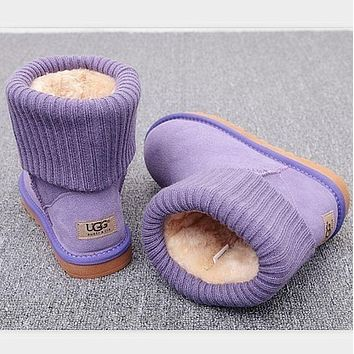 UGG Fashion Plush leather boots boots in tube Boots Purple-1
