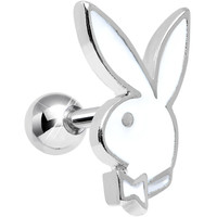 Officially Licensed White Playboy Bunny Tragus Cartilage Earring | Body Candy Body Jewelry