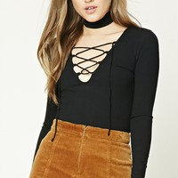 Ribbed Knit Lace-Up Top