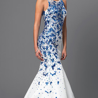 Long Mermaid Style Dress with Sequin Accents