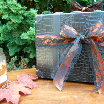 Black and Orange Leather Wedding Suitcase Card Box / Wedding Card Holder / Fall Wedding / Halloween Wedding / Autumn Wedding