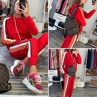 FENDI Casual Print Hoodie Top Sweater Pants Trousers Set Two-piece High quality Sportswear