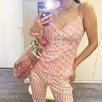 DIOR summer sexy suit female classic letter chiffon sling tube top short jacket with net letter casual pants