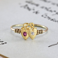 Victorian Double Heart Ring, Antique 18k Pink Sapphire & Diamond Crowned Heart Love Knot, Bohemian Bride Jewelry Alternative Engagement Ring