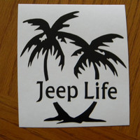 Jeep Life with Palm Tree Vinyl Decal Sticker