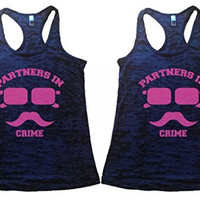 Shirts By Sarah Women's Best Friend Tank Tops Partners In Crime Hipster