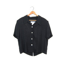 90s Cropped Black Blouse OPEN BACK Button Up Top Vintage Minimal Boxy Shirt Cut Out Keyhole Back Modern Crop Top Women's size 10 Medium