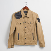 Shooter Khaki Denim With Leather Shoulder Patch Jacket