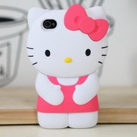 3d Hello Kitty Pink Ribbon Case/cover/protector Fits All Models of Iphone 4 & 4s